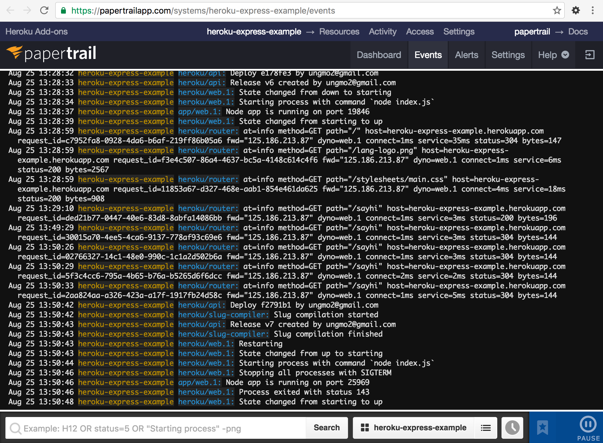 Heroku Papertrail web console